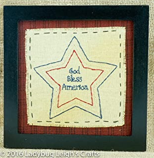 God Bless America Stitchery Country Rustic Primitive Americana Star Framed 8 x 8