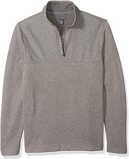 Men's Big and Tall Flex Long Sleeve 1/4 Zip Texture Block Soft Sweater Fleece
