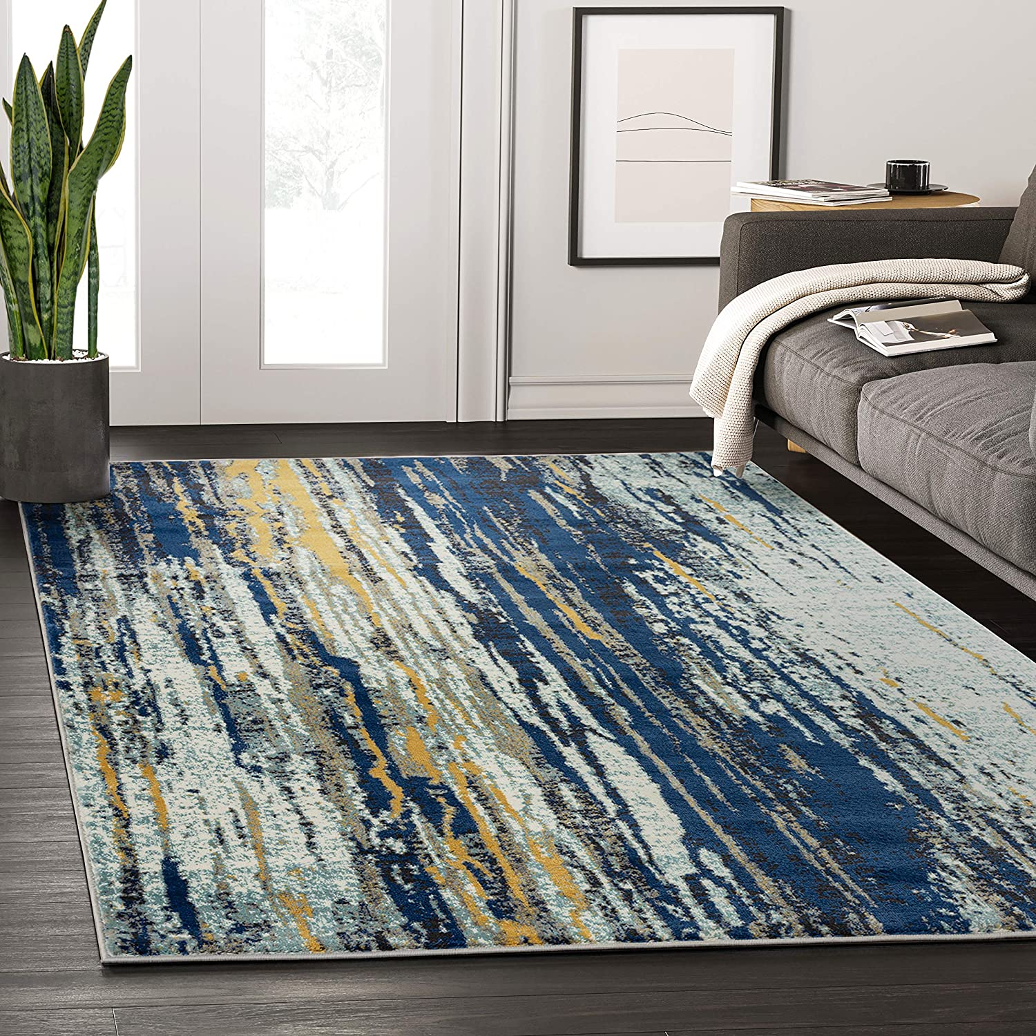 Abani Rugs Blue Yellow Painted Pattern Area Large quality assurance discharge sale Design Rug Bold w