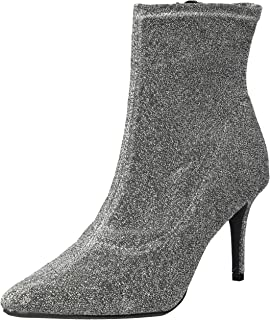 Rampage Women's Thaimara Stiletto Heel Pointed Toe Ankle Bootie Boot, Silver Fabric Stretch, 10 M US