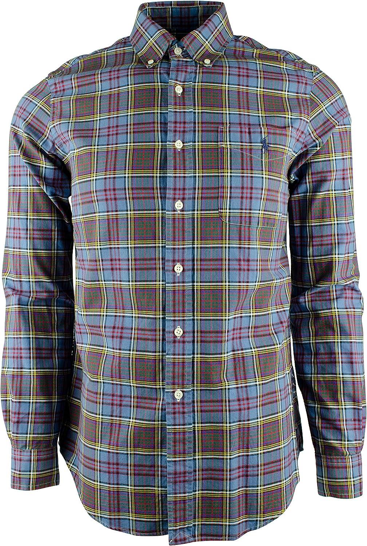 Men's Classic Fit Purple Plaid Long Sleeve Shirt