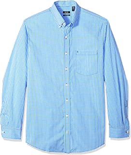 Men's Big and Tall Button Down Long Sleeve Stretch Performance Gingham Shirt