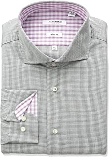 Men's Slim Fit Micro Check Cut Away Collar Dress Shirt