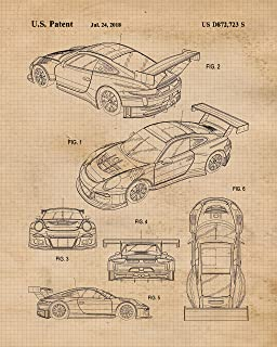 Original Porsche 911 Racing Patent Poster Prints, Set of 4 (8x10) Unframed Photos, Wall Art Decor Gifts Under 20 for Home, Office, Man Cave, College Student, Teacher, Germany Cars & Coffee Fan