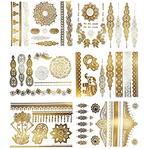 fac543499d4 Temporary Boho Metallic Henna Tattoos - Over 75 Mandala Mehndi Designs in  Gold and Silver (