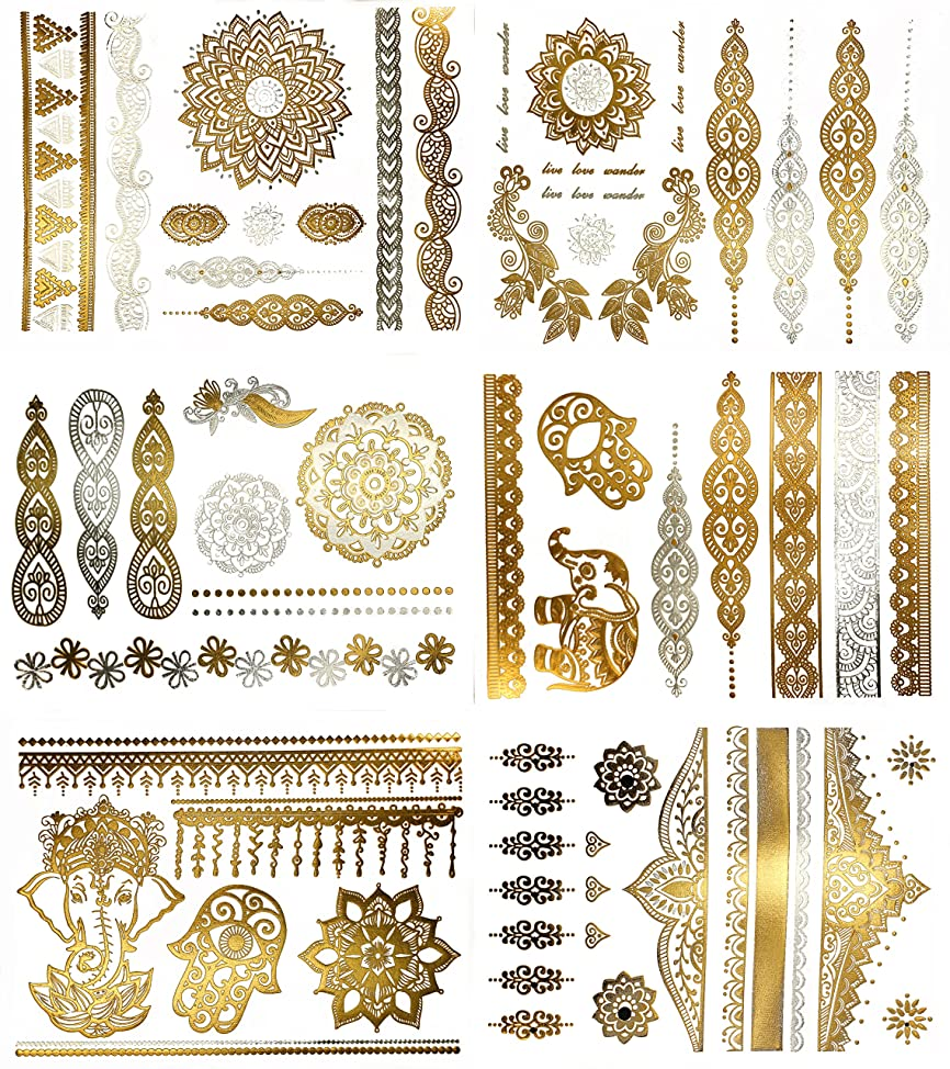 Temporary Boho Metallic Henna Tattoos - Over 75 Mandala Mehndi Designs in Gold and Silver (6 Sheets) Terra Tattoos Jasmine Collection ybkxwkhs543