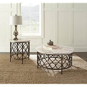 Amazon Com Roland Round White Stone Top With Bronze Metal Base Coffee Table Furniture Decor