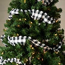 "Piper Classics Vintage Check Black Garland 9 Feet Long x 3"", Modern Farmhouse Country Gingham Christmas Tree Holiday Décor"