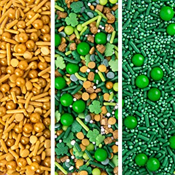 Sweets Indeed St. Patricks Sprinklefetti Variety Pack, 1.5 pounds, Shamrocks, Clovers, Green Sprinkles, Sprinkles for Baking