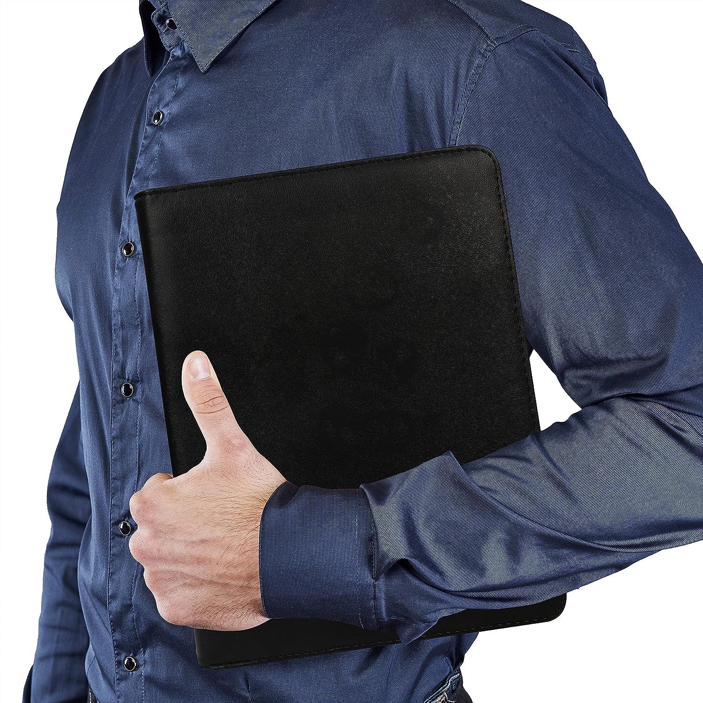 Kurtzy Carpeta Portadocumentos A4 Cuero Ecológico Negro - Carpeta con Pinza Organizador Empresa Oficina Trabajo - Portafolio con Bolsillo - Porta ...
