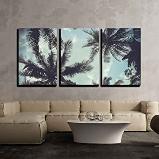 wall26 - 3 Piece Canvas Wall Art - Branches of Coconut Palms Under Blue Sky - Modern Home Decor Stretched and Framed Ready to Hang - 24