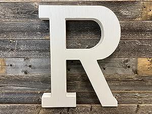 Large Wood Letter  Distressed White Wash   Alphabet Wall Décor   Monogram Letter   Alphabet Letters   Free Standing Letters   Wall Letters   Letter R