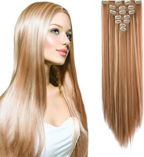 """OneDor 24"""" Straight Full Head Kanekalon Futura Heat Resistance Hair Extensions Clip on in Hairpieces 7pcs 140g (Straight 27H613)"""