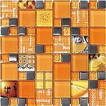 Mosaico de Vidrio en Malla DEC-47082AUU034 , Naranja, 8 mm, 30 x 30 cm