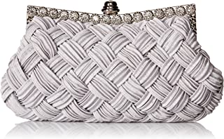Afibi Women's Evening Bridesmaid Clutch Jeweled Pleated Cocktail Party Handbag One Size Grey