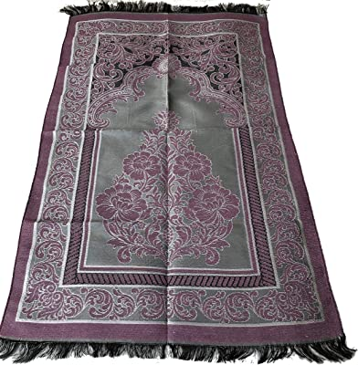 Islamic Prayer Rug Mihrab Rose Design Excellent Quality Janamaz Sajjadah Muslim Namaz Seccade Turkish Prayer Rug (Purple)
