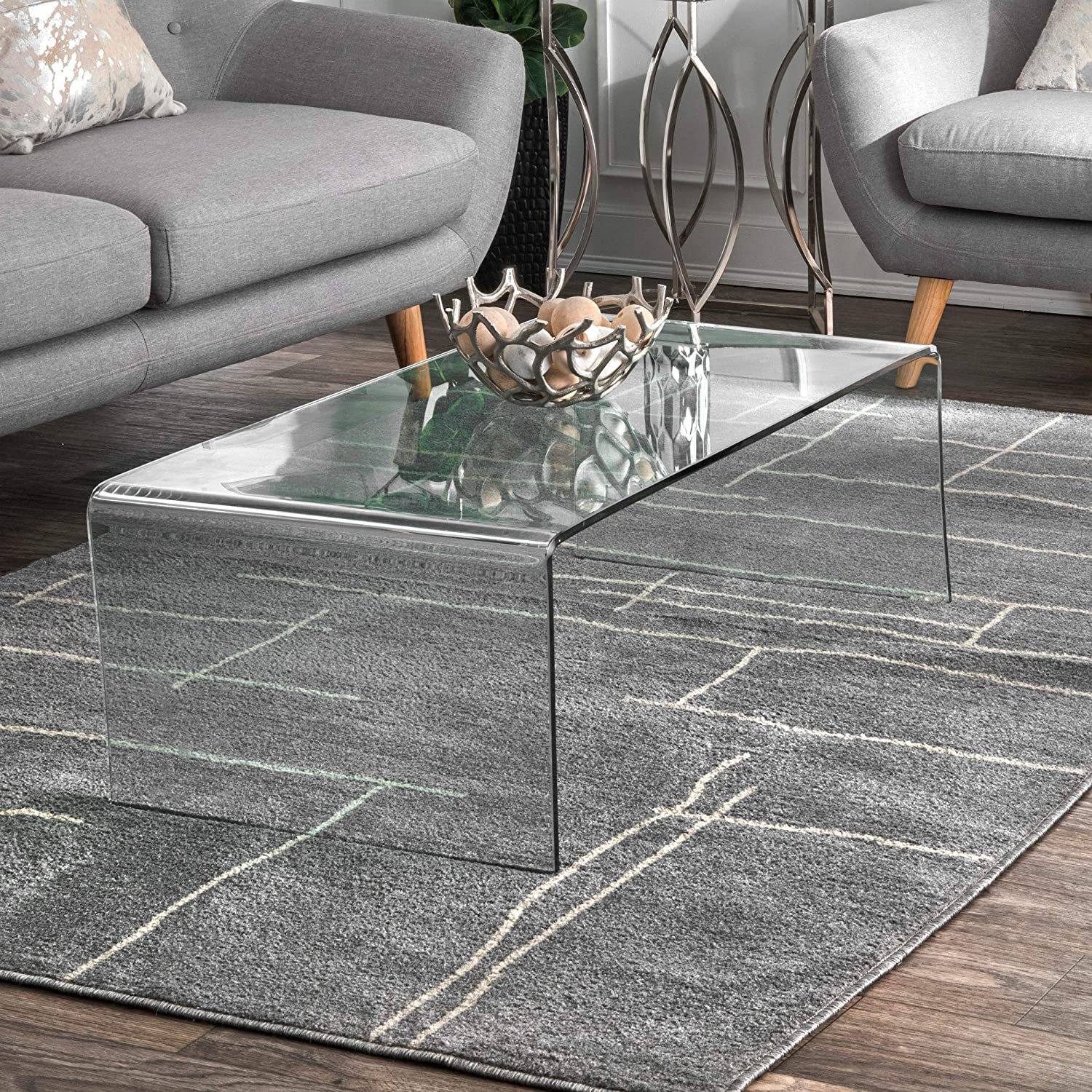 nuLOOM Fixed price for sale Abstract Vivian Runner Rug 2' x Recommendation Grey 6