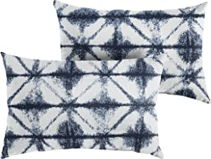 Mozaic Company AMPS116899 Indoor Outdoor Sunbrella Lumbar Pillows, Set of 2, 12 x 18, Navy Blue & White