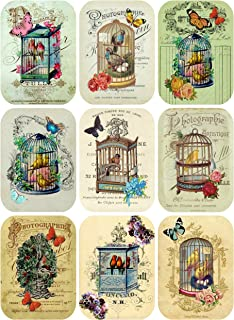 Vintage Victorian Birdcages Collage Sheet Ephemera Art Images Rounded Corners for Decoupage, Scrapbooking, Jewelry Making