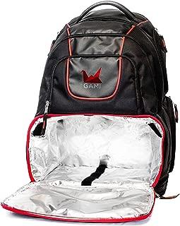 Meal gestión Fitness Nutrición mochila bolsa resistente con forro de Cooler compartimento recipiente múltiples con ventilación y bolsillos de almacenamiento negro y rojo