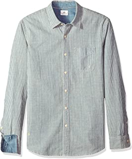 AG Adriano Goldschmied Men's Nelson Long Sleece Stripe Chambray Button Down Shirt