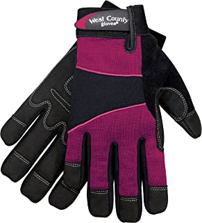 West County Womens Work Gloves with Padded palms & Double Layer Fingertips & Impact Points Medium, Berry 012F/M