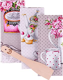 ViKei Kitchen Tea Towels Gift Set - Cute Housewarming Kitchen Gift Set of 3 Cotton Colorful Coffee Themed Dish Towels with Wooden Spatula in Beautiful Box for Women Mom Birthday