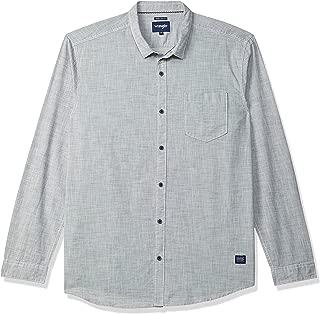 Wrangler Men's Solid Regular fit Casual Shirt (W34312TB0909_Jsw-Navy/Antique White XXL)