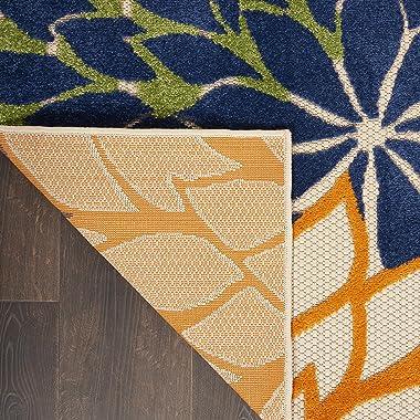 "Nourison Aloha Indoor/Outdoor Floral Blue Multicolor 7'10"" x 10'6"" Area Rug (8'x11')"
