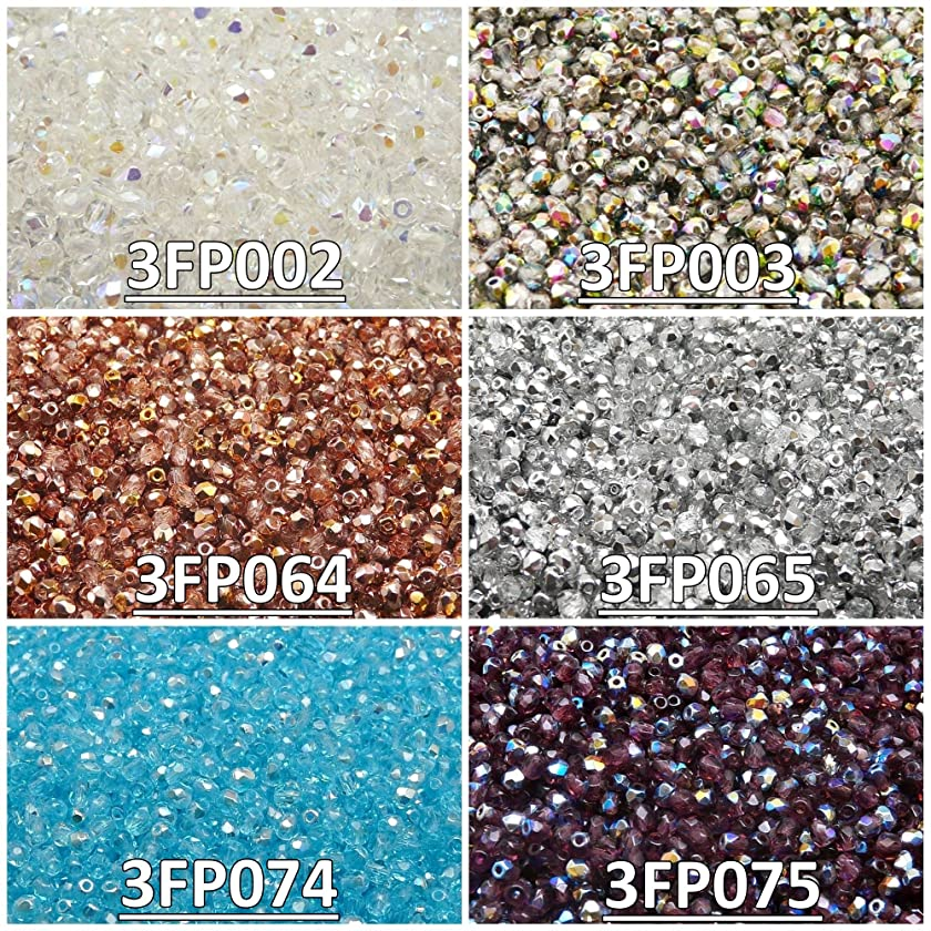 600 Beads 6 Colors Czech Fire-Polished Glass Beads Round 3 mm, Set 333 (3FP002 3FP003 3FP064 3FP065 3FP074 3FP075)