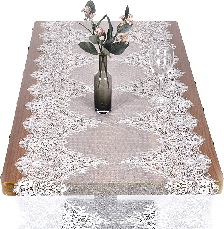 Breeze Talk 22 X 120 White Lace Table Runner Overlay Rustic Chic Wedding Reception Table Decor Boho Party Decoration Baby Bridal Shower D Cor 22 X 120