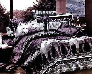 Swanson Beddings Wolves 3-Piece Bedding Set: Duvet Cover and Two Pillow Shams (Full)