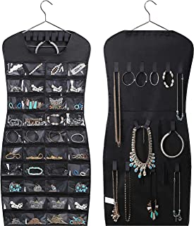 MISSLO Closet Jewelry Hanging Non-Woven Organizer Holder Pockets Hook and Loops with Hanger - Black