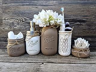 5 Piece Mason Jar Bathroom Set With Soap Dispenser. Mason Jar Decor Includes Soap Pump, Cotton Swab Holder, Tissue Holder, Toothbrush Holder, and Flower Holder.