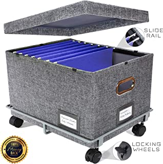 Premium Collapsible File Storage Organizer with Dolly Wheels | Office Hanging File Box | Smooth Sliding Rail | Fits Letter/Legal | Charcoal | 1 Pack