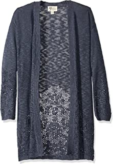Andrea Jovine Women's Open Stitched Border Duster Cardigan Sweater