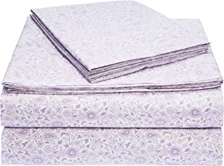 AmazonBasics Light-Weight Microfiber Sheet Set, Queen, Lavender Paisley
