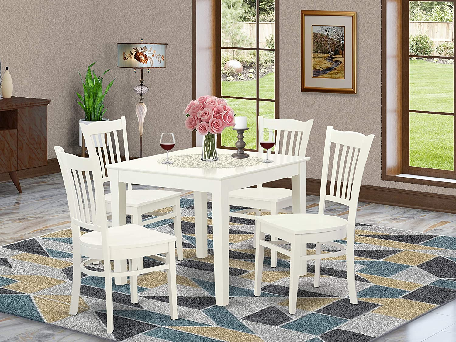 9 PC Kitchen Table and 9 Wood Dining Chairs in Linen White