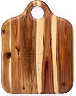 Superior Trading Co. Acacia Wood Cutting Board with Wooden Handle. FDA Approved. 14 x 14 inc.