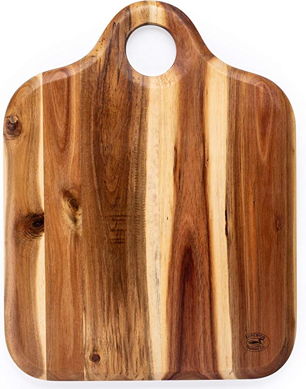 Superior Trading Co Acacia Wood Cutting Board With Wooden Handle FDA Approved 14 X 14 Inc