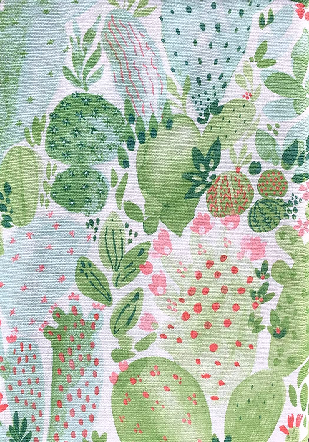 Cynthia Rowley Tablecloth Floral Cactus Pattern in Shades of bluee Green Pink on White Easy Care Indoor Outdoor, Arizona Cactus (60 Inches x 84 Inches)
