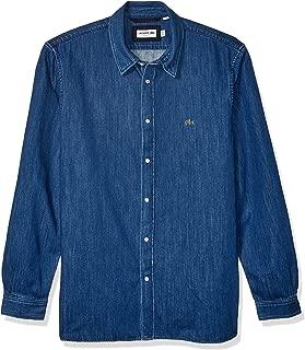 Lacoste Mens Long Sleeve Denim Cotton Woven Regular Fit Button Down Shirt