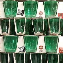 Confezione di 3 BICCHIERINI in vetro colorato verde per liquore bar caffè Cerve Picnic