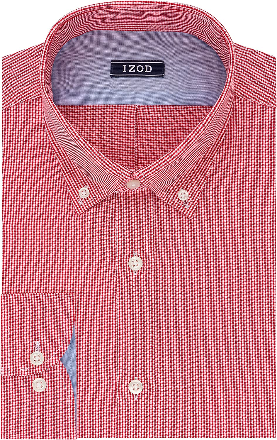 IZOD Men's Slim Genuine Free Spring new work one after another Shipping Fit Gingham Buttondown Dress Shirt Collar