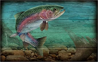 product image for Next Innovations 101409009-WOODGRAINTROUT Wood Grain Trout Metal Wall Art Panel
