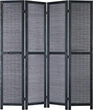 MyGift 5-Foot Bamboo Woven 4-Panel Wood Room Divider with Dual-Action Hinges, Gray