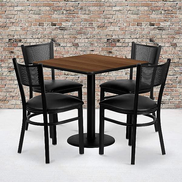 Flash Furniture 30 Square Walnut Laminate Table Set With 4 Grid Back Metal Chairs Black Vinyl Seat