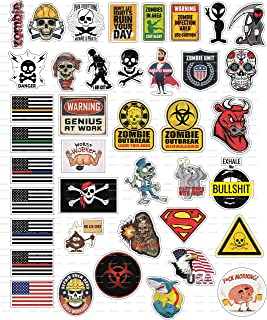 40 Funny Hard Hat Sticker,Tool Box, Hardhat, Laptop Stickers- 100% Plastic(Vinyl), Funny Decals For Construction, Electrician, Plumber Oilfield, Fire Crew, Mechanic- Skateboard,