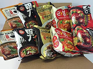 NEW Korean Hit Ramen Variety Pack, Paldo Jjajangmen Chajang, Teumsae Ramyun, Namja, Soy, Spicy, Kokomen Instant Noodles. (Paldo Party Time 10 packs Mix)