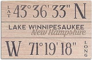 Lake Winnipesaukee, New Hampshire - Latitude and Longitude (10x15 Wood Wall Sign, Wall Decor Ready to Hang)